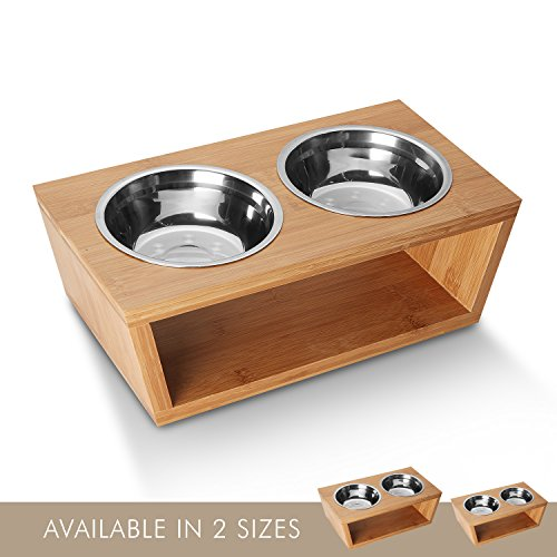 Petlo Elevated Dog and Cat Pet Feeder, Double Bowl Raised Stand Comes with Two Stainless Steel Bowls (Large)