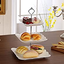 Home Cupcake Fittings Cake Plate Stand1Set Birthday Silver/Golden Alloy Color:Silvery