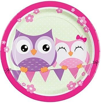Amazon.com: Búho Platos de papel 8pk Cute Rosa Cumpleaños ...