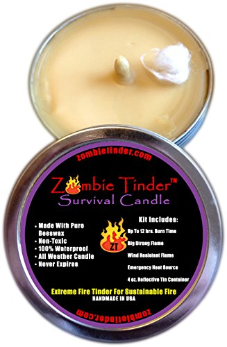 Zombie Tinder Extreme Survival Candle - Over 12 Hours of Total Burn Time - Easy Light Wick - Spark Light