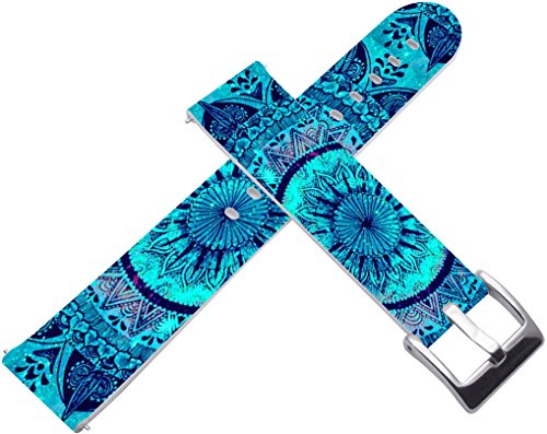 (22mm Watch Strap & 22mm Leather Watch Strap for Zenwatch 1/2 1.63 Blue Wonderful Mandala Print Art for Samsung Gear S3 Classic/Frontier/for Galaxy Watch 46mm)