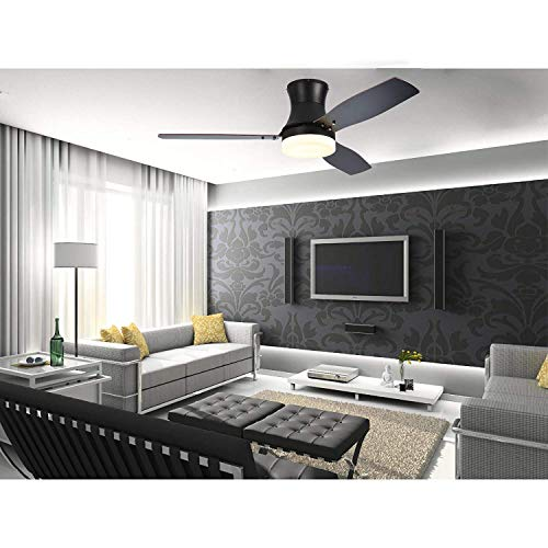 Stamo LED Lighted 52 inch Ceiling Fan, Indoor Ceiling Fan with Warm Color LED Light, 3 Speed Remote Control Timing Function Super Noiseless 3 Blade, Dark Brown