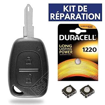 Coque / Boitier Cle Télécommande Plip RENAULT Trafic • Master • Kangoo ✚  Switch ✚ Pile DURACELL CR1220