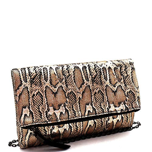 Snake Print Soft PU Leather Envelope Clutch Bag with Crossbody Chain Strap (Fold-over Style - Gold)