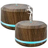 450ml Diffusers for Essential Oils, Wood Grain Aromatherapy Cool Mist Air Humidifier with 8 Color LED Lights for Home Bedroom Office by Doukedge(2 Pack)