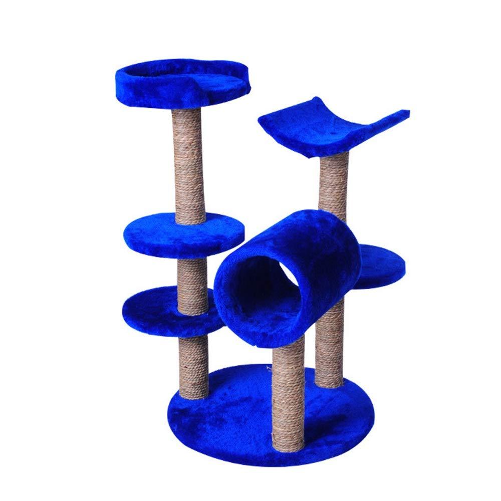 HU Cat Tree Plush Comfortable Cat Nest Multi-layer Platform Perched Play Seaweed Claw Column