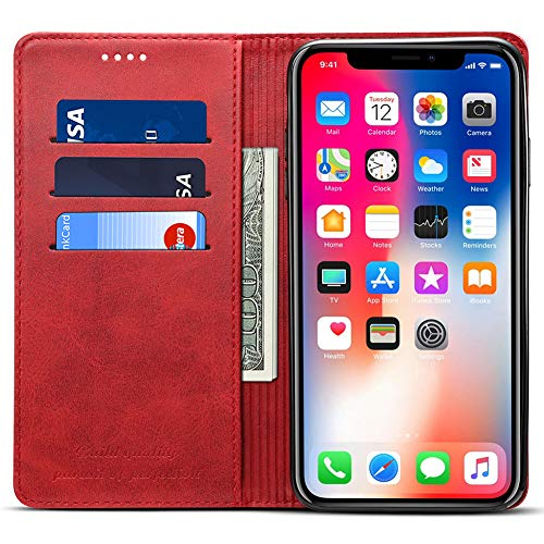 Wallet Case Compatible 2018 iPhone XR/10R, PU Leather Wallet Case Kickstand Folio Flip Cover, Red, 6.1 inches
