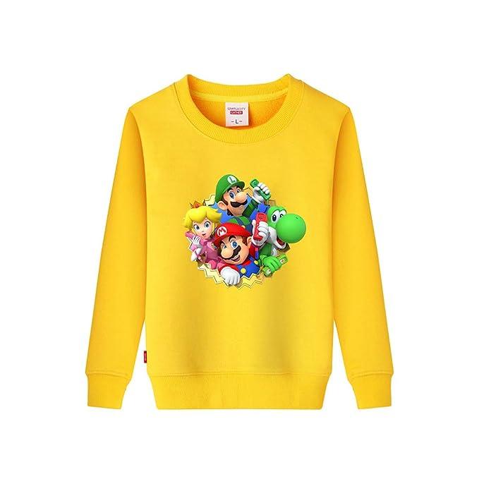 Aivosen Super Mario Estampar Moda Sudaderas Cuello Redondo Grandes Otoño Invierno Tops para Niño y Niña: Amazon.es: Ropa y accesorios