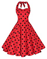 Anni Coco Women's Halter Polka Dots 1950s Vintage Swing Tea Dress