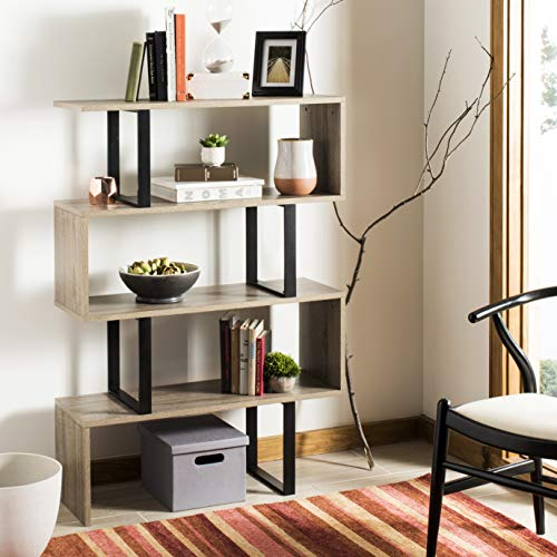 Safavieh FOX4283A Home Collection Louise Retro Mid Century Wood Etagere, Oak and Black ()