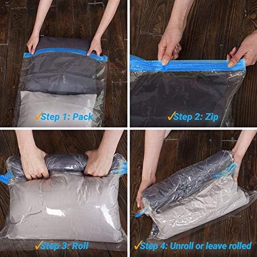 HAUSPROFI 12 Sacchetti salvaspazio Sottovuoto Salvaspazio Riutilizzabili da Viaggio con Diversi Misure arrotola a Mano Senza Pompa