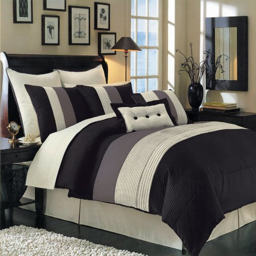 12 PIECES BEDDING SET LUXURY HUDSON COMFORTER SET QUEEN SIZE BLACK, BROWN & IVORY. INCLUDES: 1- COMFORTER, 1- BED SKIRT WITH 15'' DROP 2- STANDARD PILLOW SHAMS 2- EURO PILLOW SHAMS. 1- DECORATIVE PILLOW 12'' x 18'' 1- DECORATIVE PILLOW 18'' x 18'' 1- FLAT SHEE