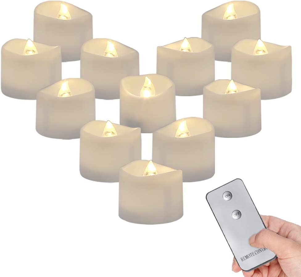 Homemory Remote Control Tea Lights Flickering, Long Lasting Battery Operated LED Candles with Remote, No Timer, for Home Decor and Seasonal Celebration, Pack of 12, Warm White Light
