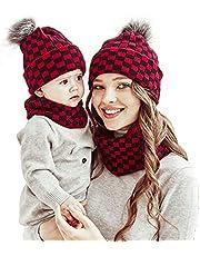Yanmucy 4PCS Family Matching Hat Parent-Child Hat Winter Warmer Pom Pom Balls Beanie Cap Mother & Baby Knit Hat