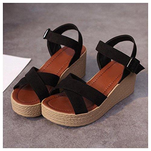 Sandales Dété, Inkach Mode Femmes Été Sandales Décontractées Pente Avec Tongs Mocassins Chaussures Noir