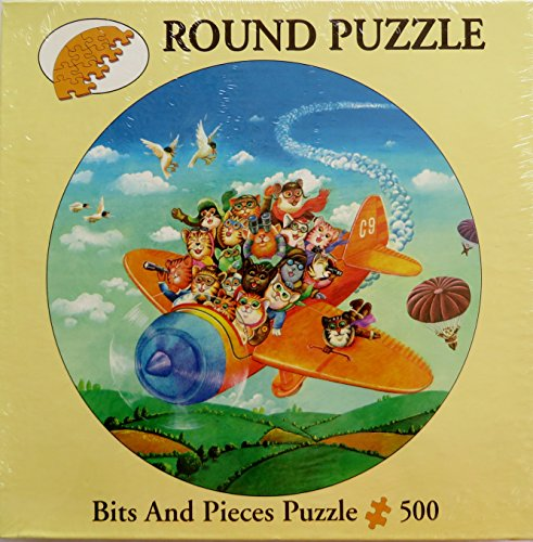 Bits and Pieces ~ Cats Club Flying ~ Round Puzzle 500 Pieces
