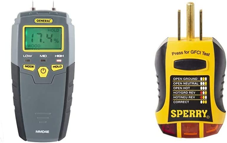 General Tools MMD4E Digital Moisture Meter, Water Leak Detector, Moisture Tester, Grays & Sperry Instruments GFI6302 GFCI Outlet/Receptacle Tester, Standard 120V AC Outlets, Yellow & Black