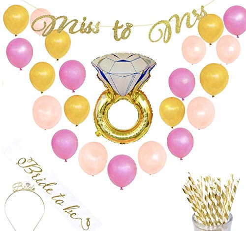 Bachelorette Party Decorations Kit | Bridal Shower Decorations | Supplies | Includes Bride to Be Sash, Tiara, Foil Ring Balloon, Party Straws, Miss to Mrs Banner, Rose, Gold, Pink Balloons, Garland