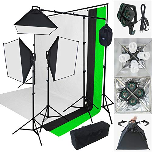 Linco Lincostore 2000 Watt Photo Studio Lighting Kit With 3 Color Muslin Backdrop Stand Photography Flora X Fluorescent 4-Socket Light Bank and Auto Pop-Up Softbox - Only takes 3 seconds to Set-up from Linco