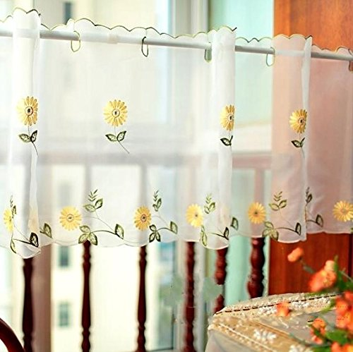 DOKOT Embroidery Kitchen Curtain, Cafe Curtain, Dining Room Curtain, Sunshine Semi Sheer Valances (Yellow Daisy, 18 x 59 inches (45x150cm))