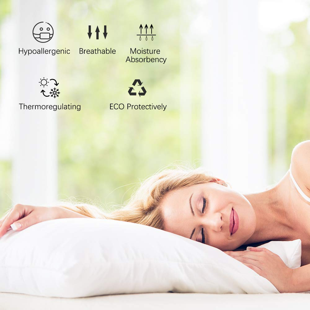 White, Standard Jia Feng Hometex Co Ltd. Cooling Eco-Friendly /& Hypoallergenic Bed Pillow Cover Pillow Protector EMME 100/% Bamboo Bedding Pillowcases Set of 2 Rayon Derived from Bamboo Breathable Silky Ultra Soft