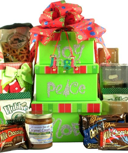 Gift Basket Village Joy Peace Noel Holiday Gift Tower