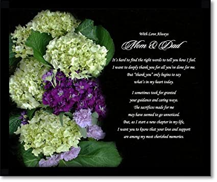 Amazon wedding gift for parents thank you poem for mom and wedding gift for parents thank you poem for mom and dad from bride or groom altavistaventures Images