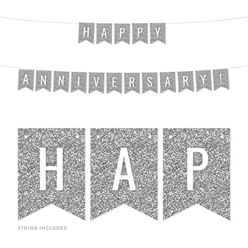 Andaz Press Faux Silver Glitter Wedding Anniversary Party Banner Decorations, Happy Anniversary!, Approx 5-Feet, 1-Set, Birthday Milestone Colored Hanging Pennant Decor ()