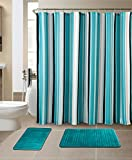 Shower Curtain Sets All American Collection New 15 Piece Bathroom Mat Set Memory Foam with Matching Shower Curtain (Stripe Turquoise)