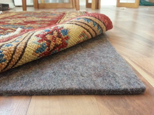 12x12 Beige Tile Flooring - Rug Pad Central 9' x 12' 100% Felt Rug Pad, Extra Thick- Cushion, Comfort and Protection