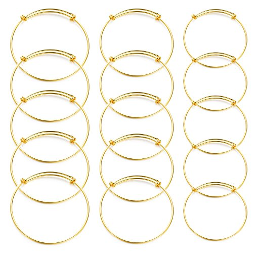 Gold-tone 15pcs Expandable Wire Blank Bangle Bracelet for DIY Jewelry Making(2,2.4,2.5inch,Each 5 pcs)