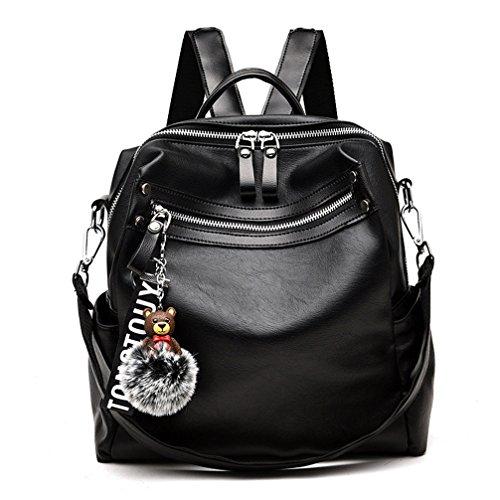 La mujer mochilas Mochilas de cuero para las adolescentes mujeres mochilas mochila de cuero Negro