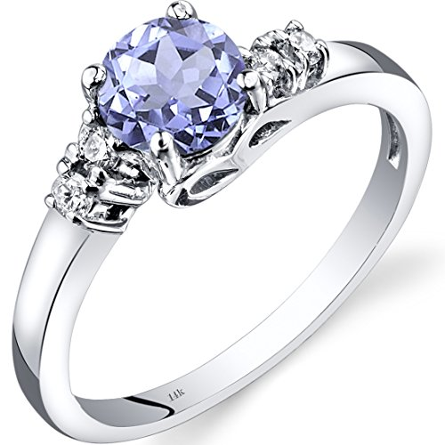 14K White Gold Tanzanite Diamond 5 Stone Ring 0.75 Carats Size 9 - Tanzanite White Gold Band