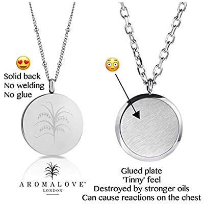 """Tree of Life Essential Oil Diffuser Necklace Aromatherapy Jewelry - Hypoallergenic 316L Surgical Grade Stainless Steel, 23"""" Chain + 9 Washable Insert Pads + Charms …"""