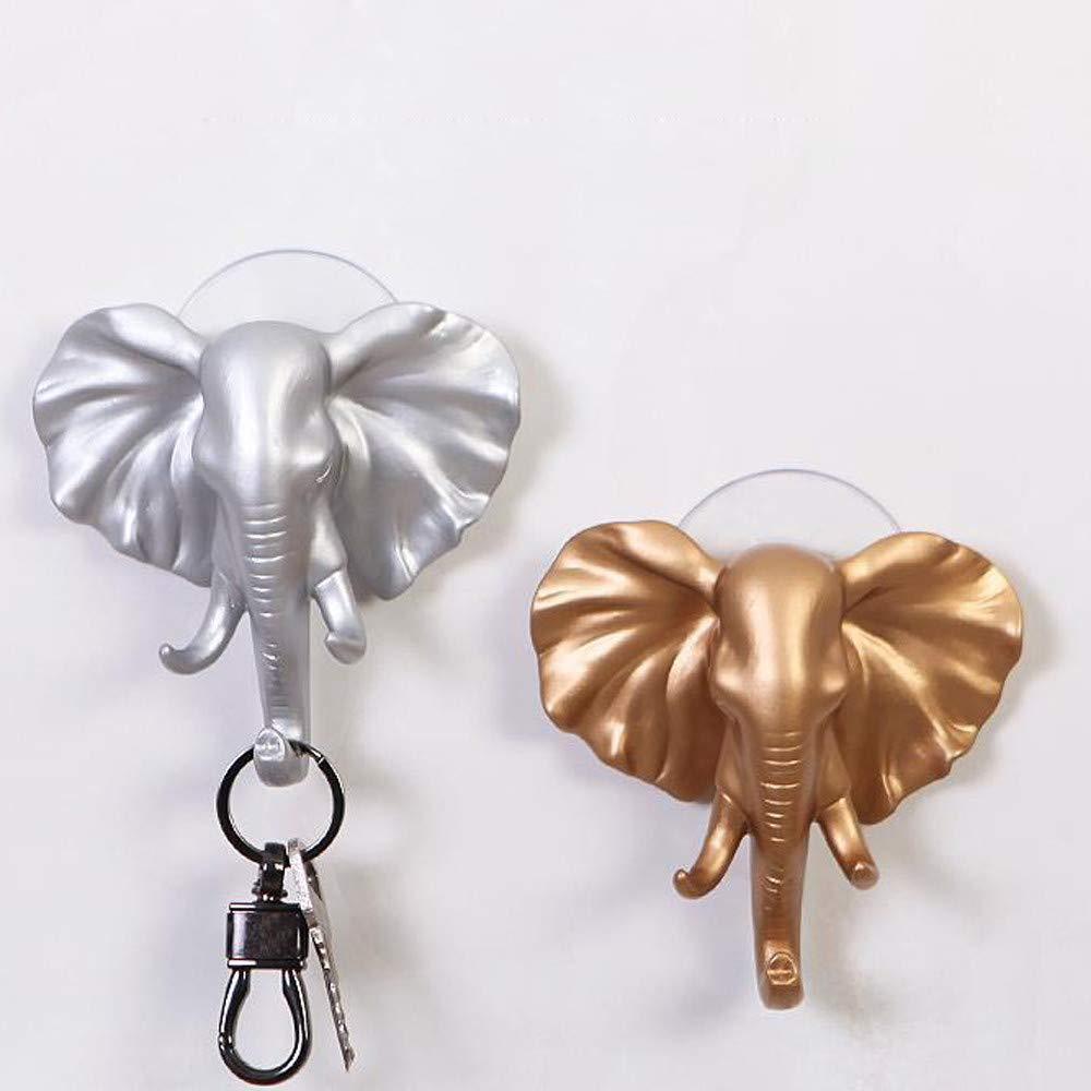 HANANei Sticky Holder, Lovely Elephant Head Self Adhesive Wall Door Hook Hanger Bag Keys for Home, Office, Closet Storage (Silver) by HANANei (Image #5)