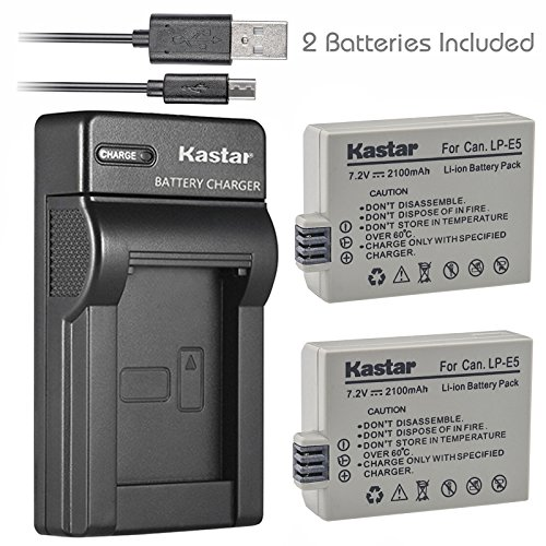 Kastar Battery (X2) & Slim USB Charger for Canon LP-E5 LPE5 and Canon EOS Rebel XS, Rebel T1i, Rebel XSi, 1000D, 500D, 450D, Kiss X3, Kiss X2, Kiss F digital camera, BG-E5 grip (Canon Xsi Rebel Battery Grip)