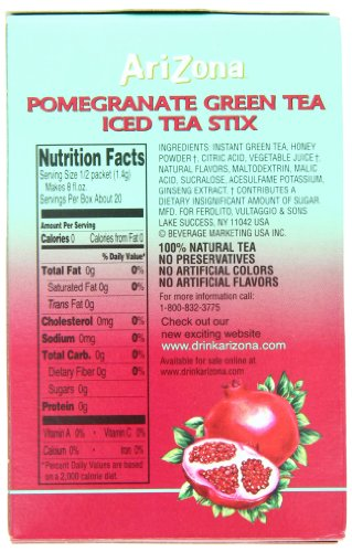AriZona Pomegranate Green Tea Iced Tea Stix Sugar Free, Low Calorie Single Serving Drink Powder Packets, Just Add Water for a Deliciously Refreshing Iced Tea Beverage, 10 Count per box, Pack of 6 8 HAVE TEA WILL TRAVEL: Everything you love about AriZona Iced Tea now in convenient Stix you can take to go! AriZona Iced Tea Stix fit easily in your bag, purse or pocket. Add water for delicious pomegranate Green Tea in an instant, any time, anywhere. DRINK SUGAR FREE: AriZona Iced Tea Stix are sugar free and sweetened with Splenda, for a big taste that's light on calories. Just tip a single-serving packet into a 16 or 20 ounce bottle of crystal clear water, screw the cap back on, shake well and enjoy! TRY EVERY FLAVOR: Start with our Green Tea--then branch out! Get fruity with Pomegranate, Peach, and Lemon Tea. Tart it up with some Lemonade, or go half on an Arnold Palmer. Get amped with an Energy Shot, or take your drink to go with Iced Tea Stix