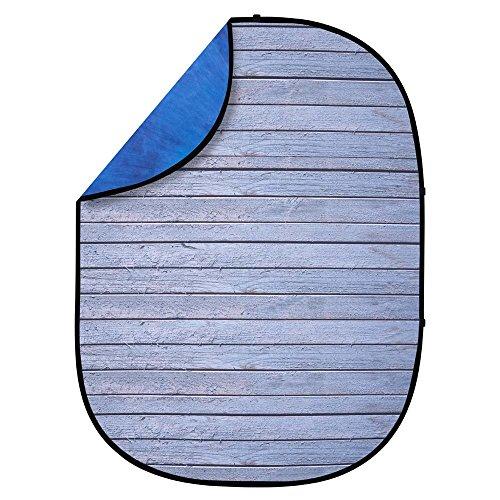 Interfit PB404 Studio Essentials Collapsible - 5' x 6.5' Pop-Up Reversible Background - Muslin, Gray Pine/Dark Blue/Light Blue