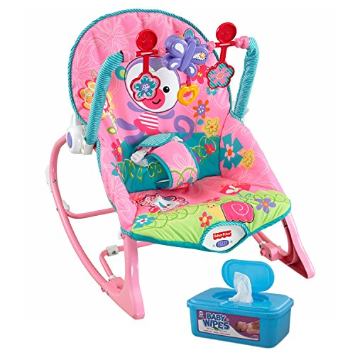 Fisher-Price Infant-to-Toddler Multi-Purpose Play, Seat, and Feeding Rocker with Baby Wipes, 128 Count by MegaMarketing