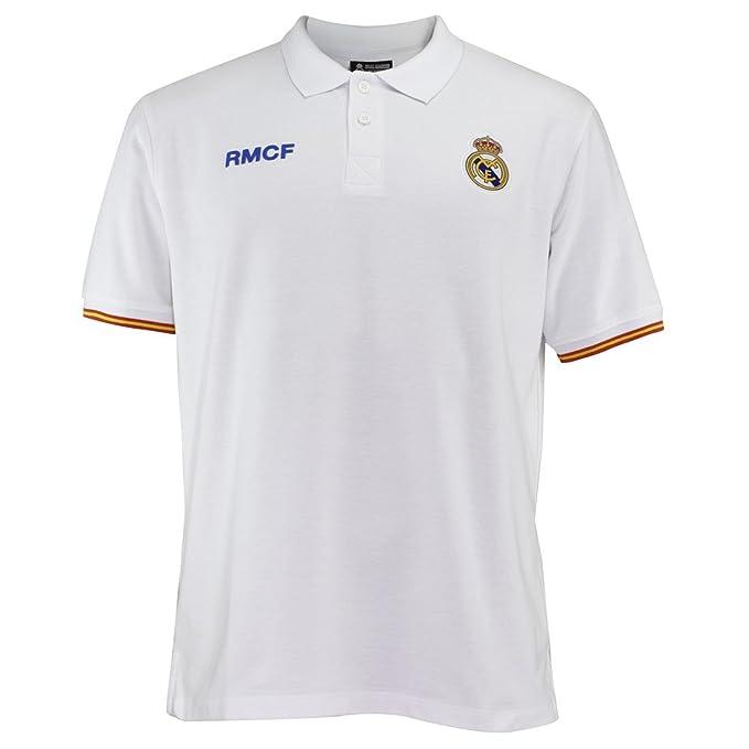 Polo Real Madrid Adulto Blanco Escudo Bordado  AB3912   Amazon.es  Ropa y  accesorios b410dc7788269