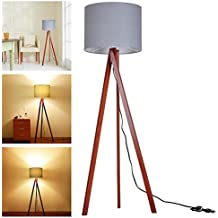 "Yescom 57.2"" Wooden Tripod Floor Lamp Gray Cotton Fabric Lampshade w/ Walnut Wood Color Oak Stand for Room Cafe"
