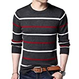 Tianxiangl O-Neck Pullover Men Brand Clothing Winter Cashmere Wool Sweater Men Casual Striped Pull