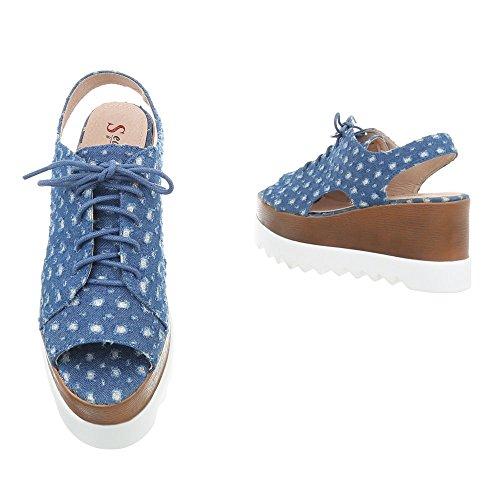 Ital-Design Keilsandaletten Damenschuhe Keilabsatz/Wedge Keilabsatz Schnürsenkel Sandalen & Sandaletten Blau