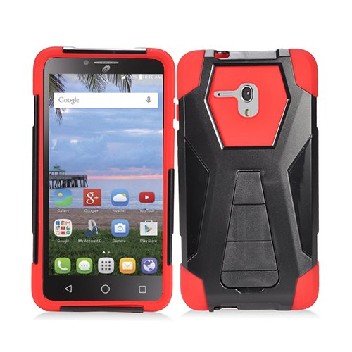 watch b8541 f25cc Phone Case for Straight Talk Alcatel OneTouch Pixi Glory LTE A621B Hybrid  Cover Case with Kickstand (Red)