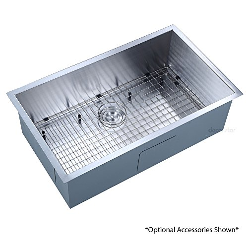 Decor Star H-001-Z 32 Inch x 19 Inch Undermount Single Bowl 16 Gauge Stainless Steel Luxury Handmade Kitchen Sink cUPC Zero Radius by Decor Star (Image #6)