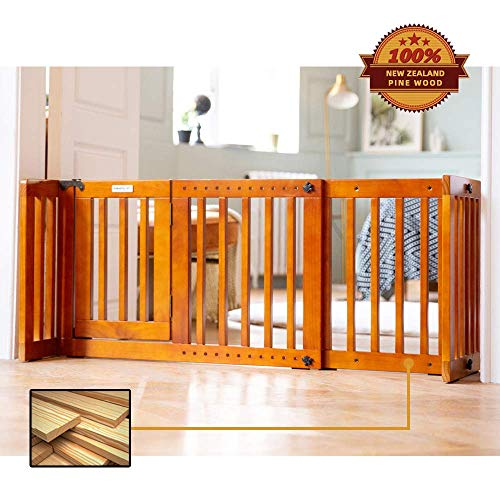 Simply Plus 34 – 46Inches Wide 19Inches Tall Dog Gate with Door Walk through Adjustable Freestanding Wooden Pet Gate Step Over Fence for Small to Medium Sized Pets Dogs, Size S