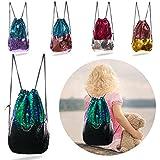 Magic Mermaid Reversible Sequin Drawstring Backpack/Bag Iridescent Green/Black