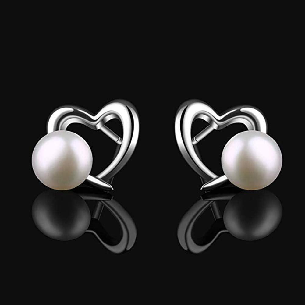Pendientes de Las señoras del corazón Perlas de Ley 925 aretes de Plata de 6 mm Perlas de Agua Dulce de la joyería Regalo de San Valentín para la Mujer/Esposa/Novia,Plata