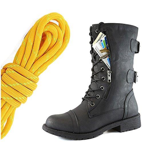 Dailyshoes Donna Militare Allacciatura Fibbia Da Combattimento Stivali Mid Knee Alta Esclusiva Tasca Per Carte Di Credito, Tangerine Lime Twlight Nero