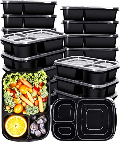 Utopia Kitchen 32 Oz. 3-Compartment Meal Prep Container Pack with Lid [20-Pack]